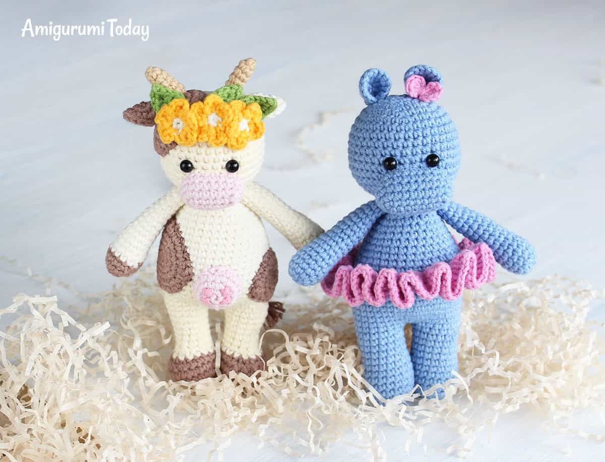 Amigurumi Cuddle Me Cow and Hippo - Free crochet patterns ...