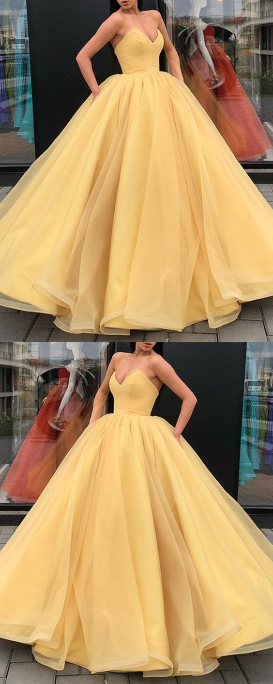 Organza ball gowns prom dress yellow sweetheart quinceanera dress