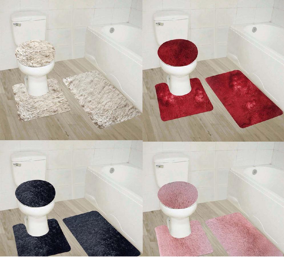 BATHROOM SET BATH MAT CONTOUR RUG TOILET LID COVER NEW IN SOLID