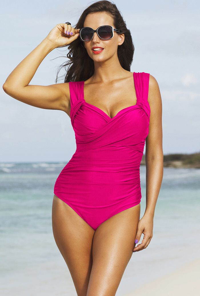 600fee7dff23b hot hot pink - Shore Club Pink Plus Size Crossover Swimsuit