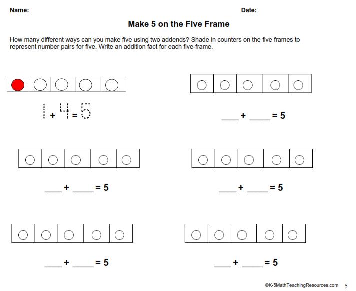 Make 5 on the Five Frame | School Kiddos | Pinterest | Math ...