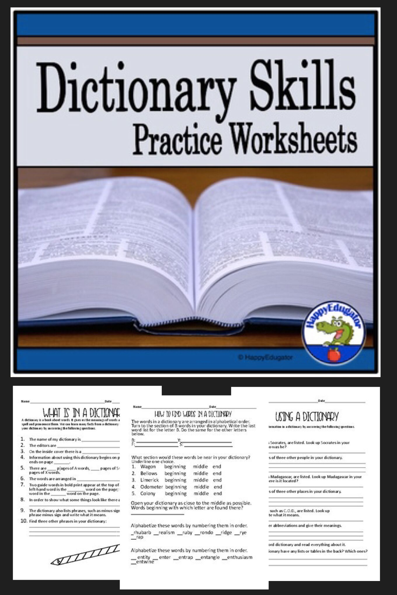 Dictionary Skills Worksheets With Practice Using Guide