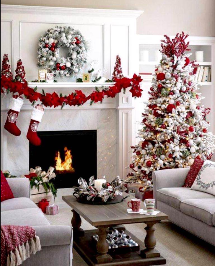 A Classic Red And White Christmas Christmas Holidaydecorations Christmasdecorations Christmas Decorations Apartment Christmas Apartment Christmas Home