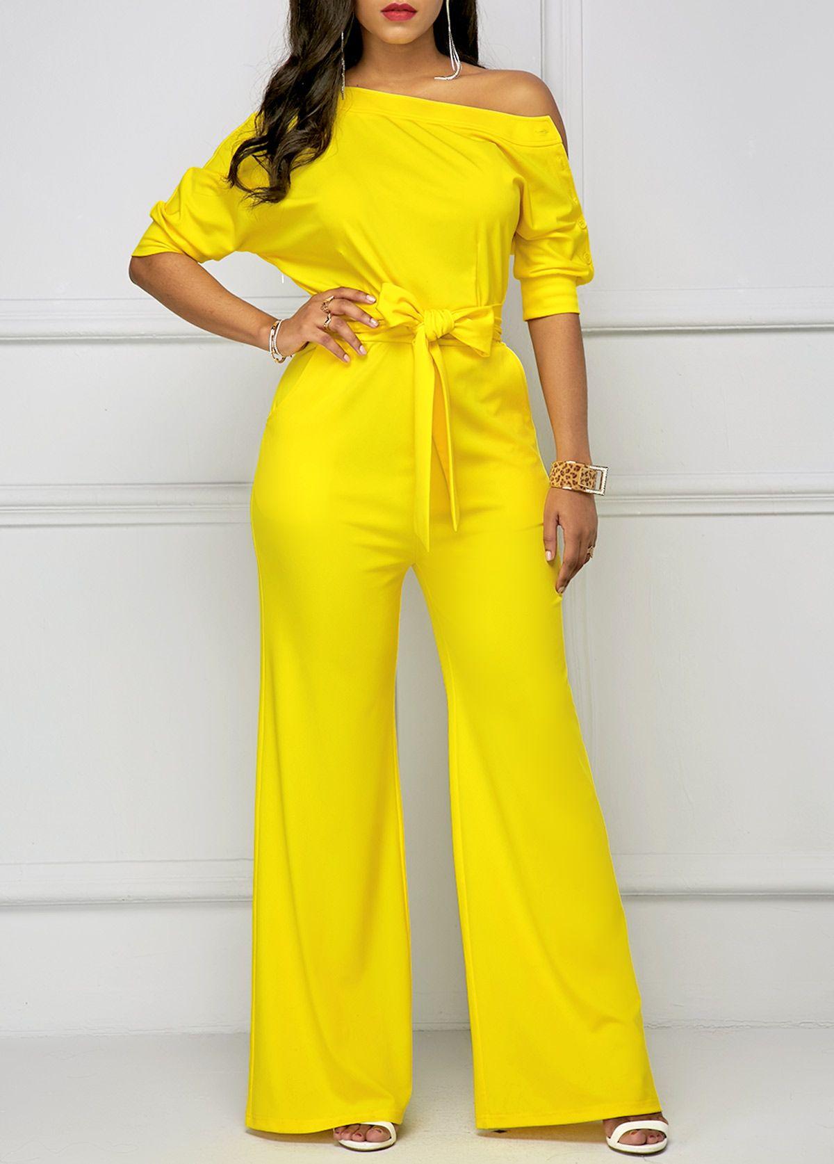 e0d6e193e26 Belted Half Sleeve Skew Neck Yellow Jumpsuit