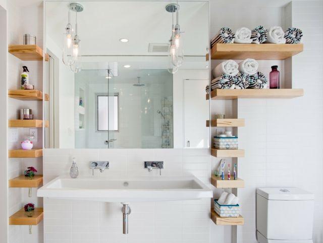 Stauraum kleines Badezimmer freistehende Regale … | Kleine ...