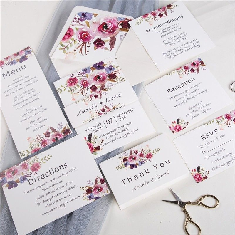 Pink And Purple Floral Wedding Invitation With Vellum Paper And