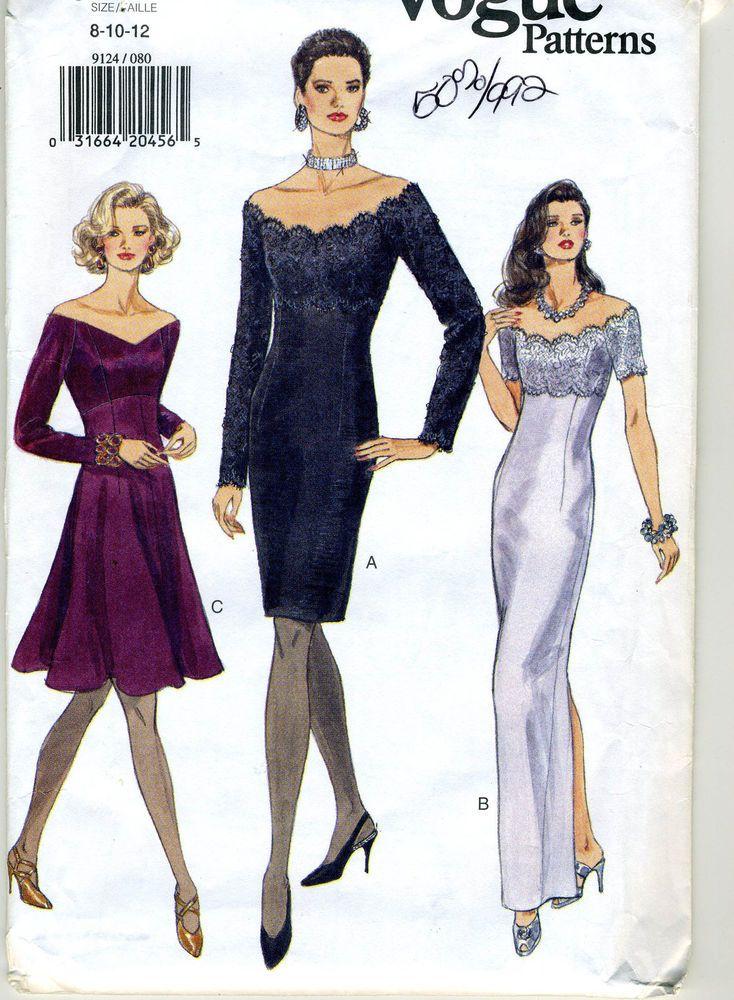 Misses Size 8 10 12 Evening Dress Sewing Pattern Vogue 9124 Dress