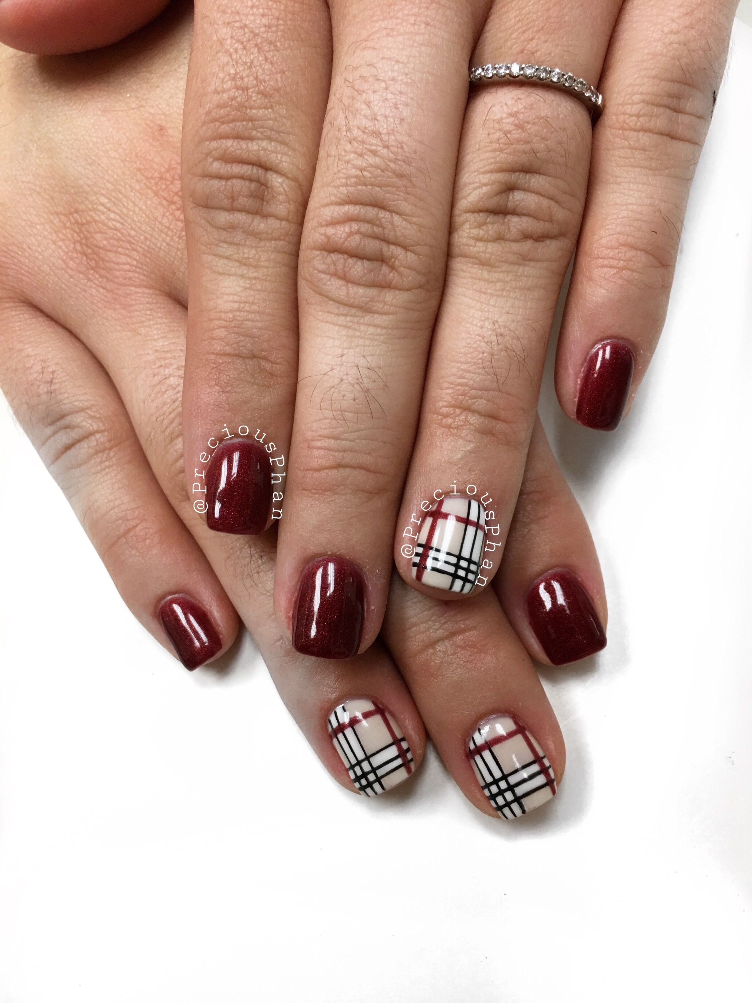 Burberry Nails. Plaid Nails. Maroon Nails. #PreciousPhan