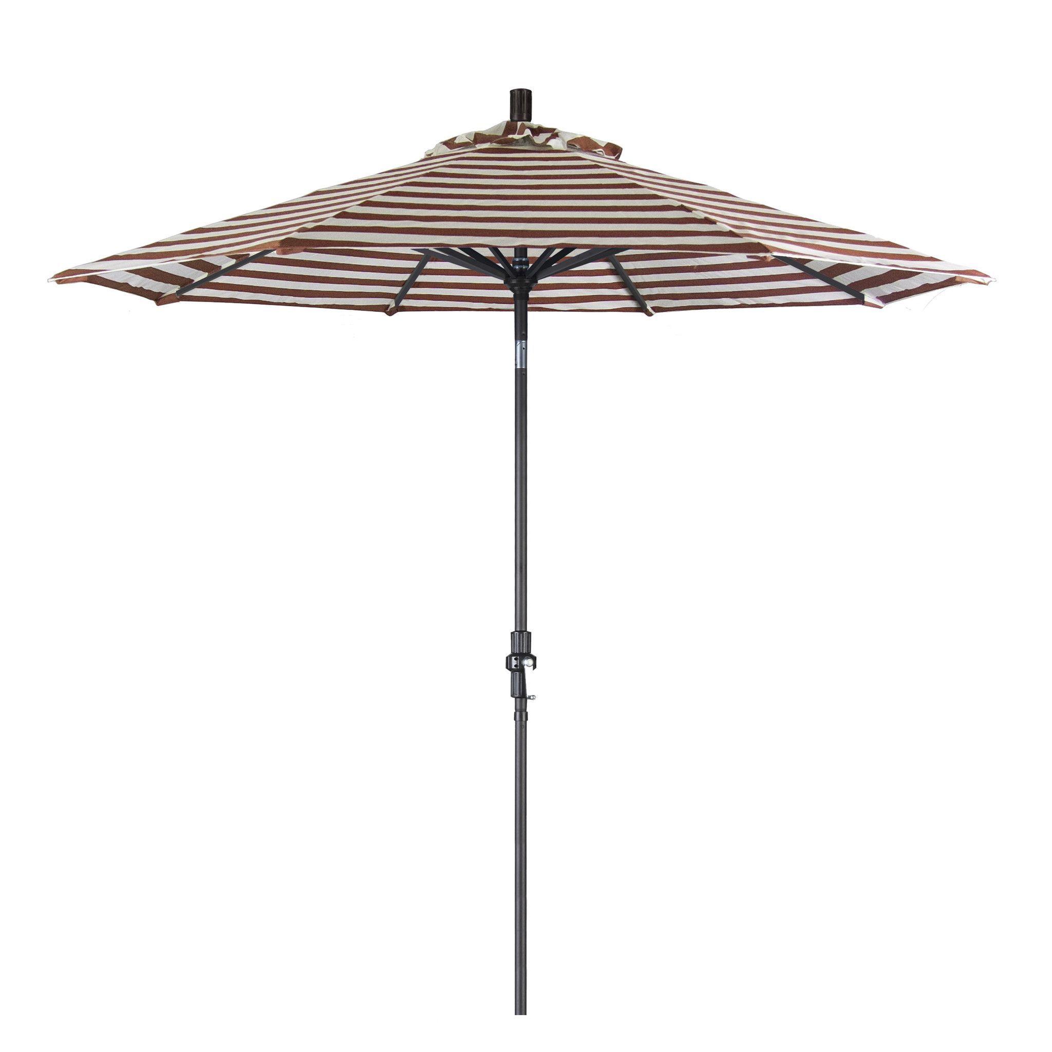 Eclipse Collection 9' Aluminum Market Umbrella Collar Tilt - Matted Black/Olefin/Brick White Cabana Stripe