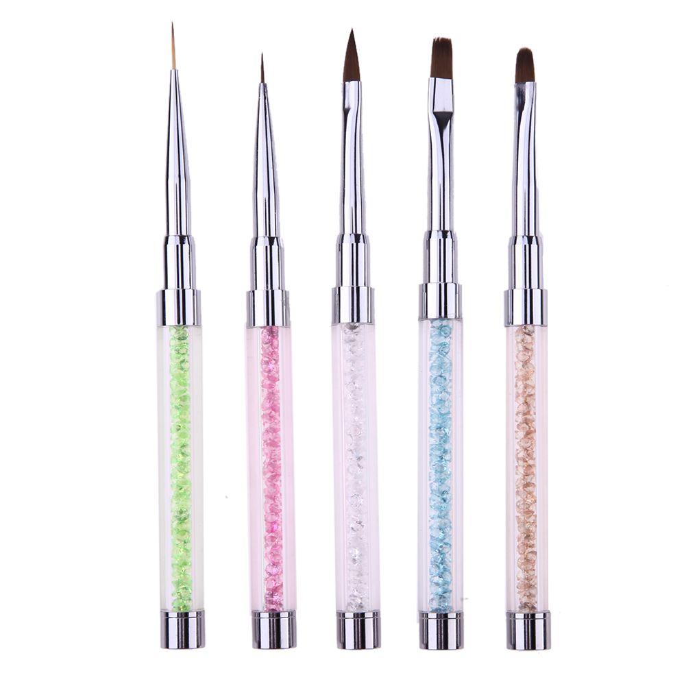 5pcs Nail Art Brushes Pen Rhinestone Diamond Carving Handle Brush ...