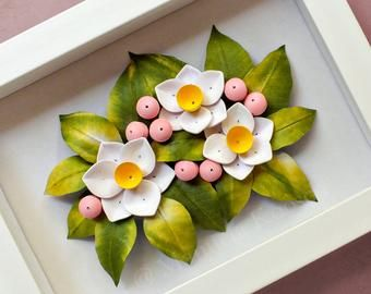 Photo of Paper Quilling Framed Wall Art with Pink Wild Rose and Daisy – Fl