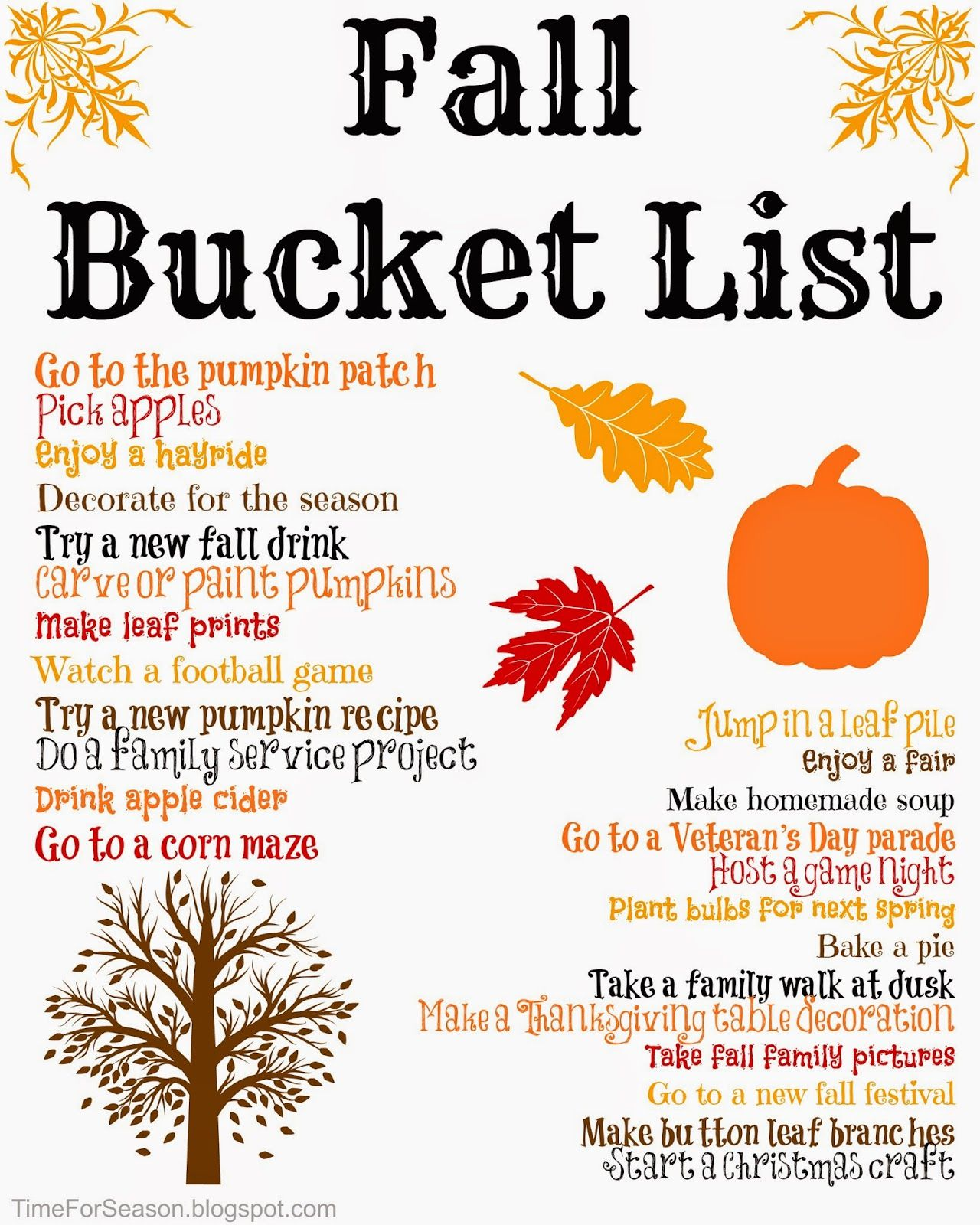 Fall autumn bucket list printable crafts activities kids trips fall autumn bucket list printable crafts activities kids trips go to the pumpkin sciox Image collections