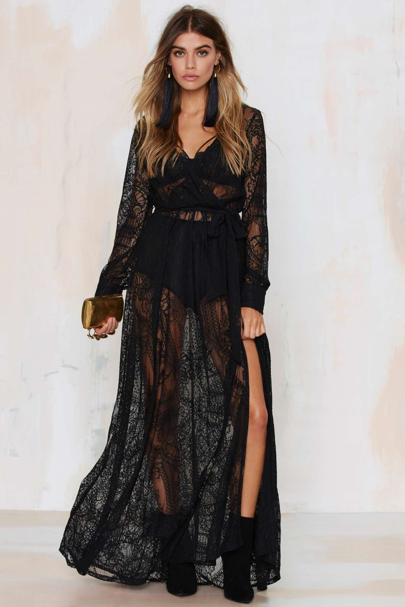 Nasty gal black sheer long sleeved lace maxi dress dreams