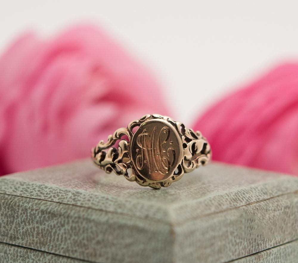 Antique 10K Gold Signet Ring, Engraved, | SHINY, XTRA SHINY ...