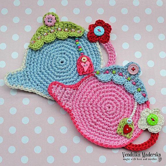 Teapot coaster - crochet pattern, DIY | Patrones de crochet, Teteras ...
