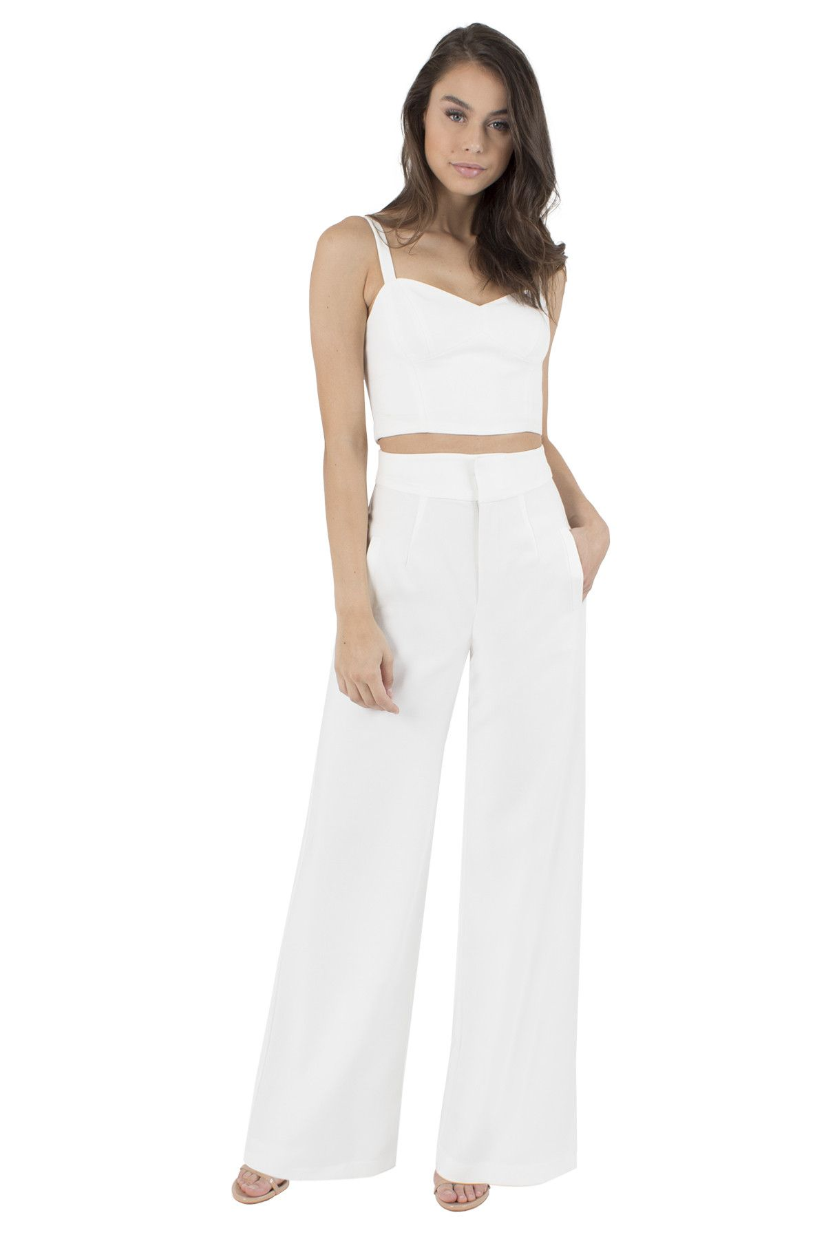 0f2d11b7835b Black Halo Kalem Twp Piece Jumpsuit - white wedding 2 piece jumpsuit - crop  top and pants