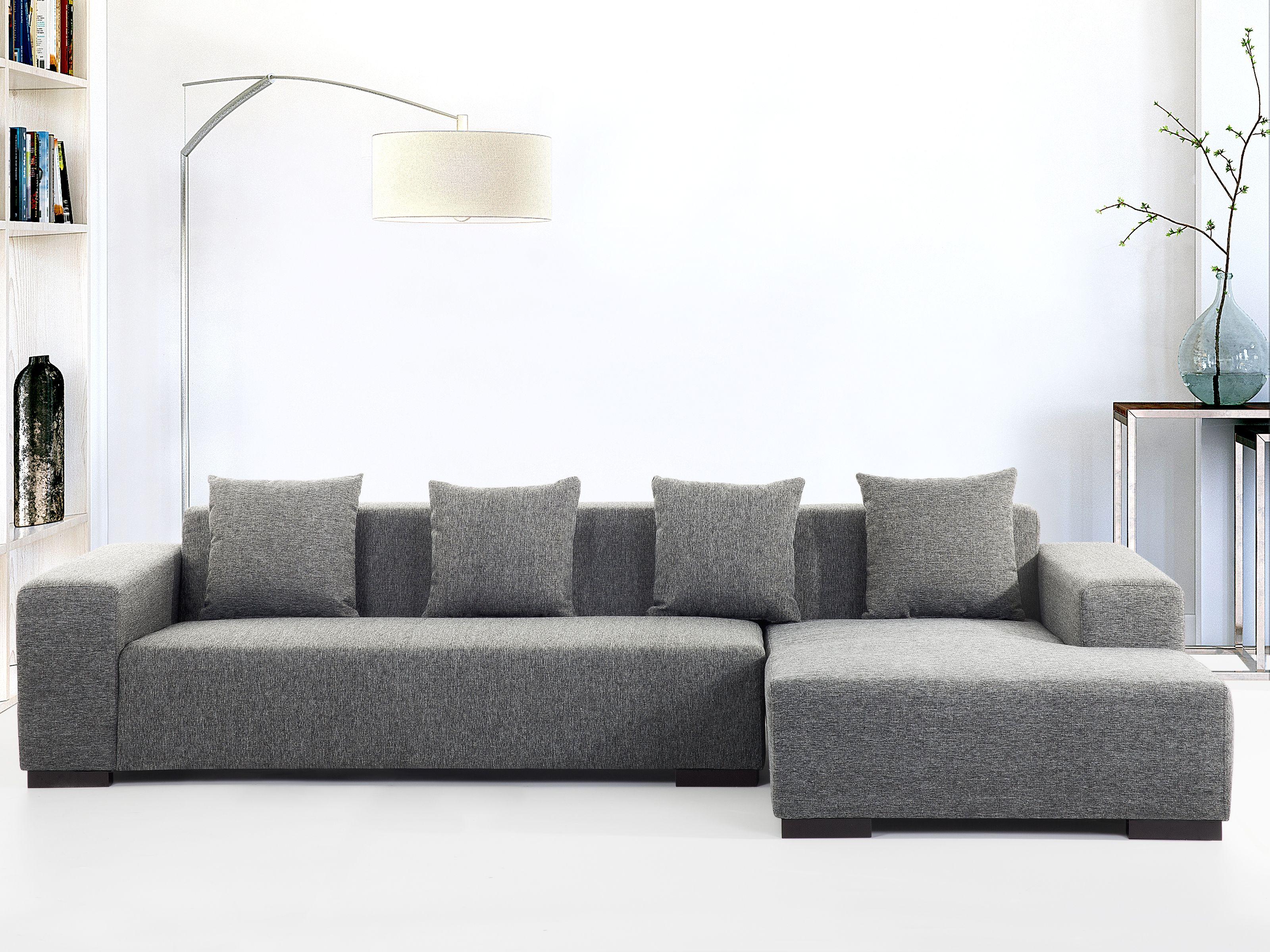 Left Hand Fabric Corner Sofa Dark Gray Lungo Modern Sofa