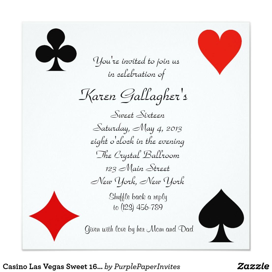 Casino Las Vegas Sweet 16 Invitation   { Happy Birthday ...
