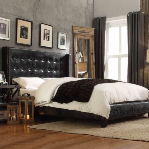 Black Leather Bed Queen Size Tufted Wingback Headboard Faux Alligator Nailhead