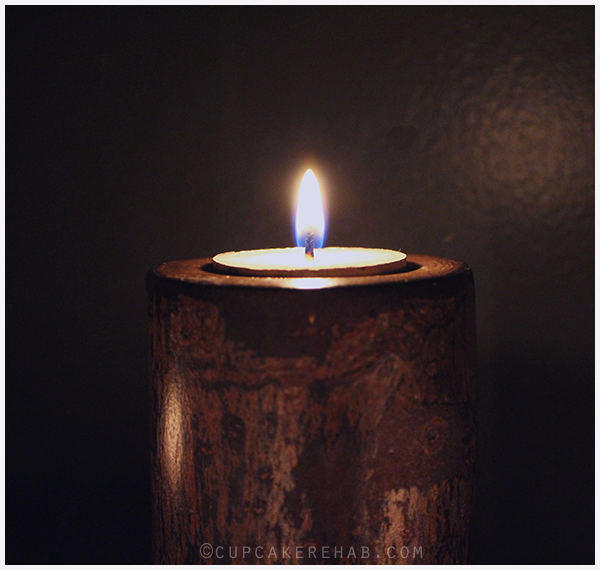 An easy project (if you have the tools): DIY tree stump rustic candle holders. Pretty enough to have out year-round, but especially pretty in the winter.