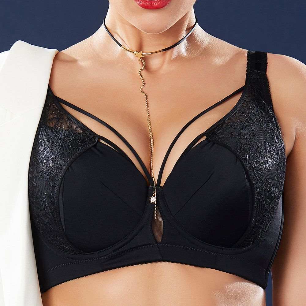 0835a28e63215 Plus Size J Cup Sexy Push Up Lightly Lined Harness Bra