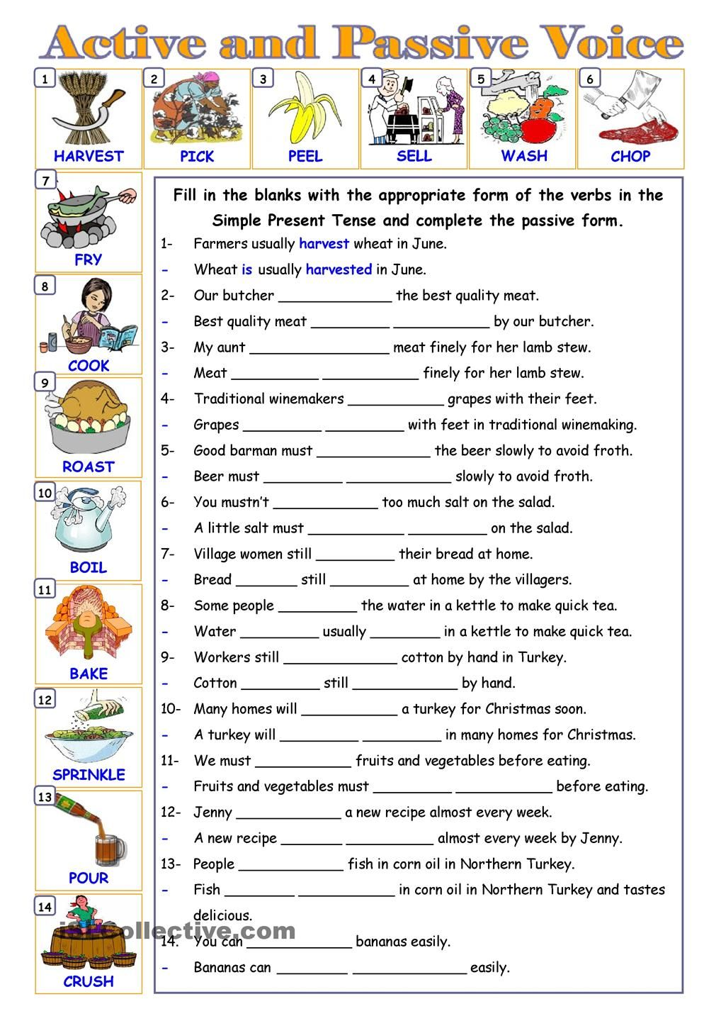 Worksheets Active Vs Passive Voice Worksheet passive voice education pinterest english worksheets and gap fill re write exercise for active in the simple present tense or g