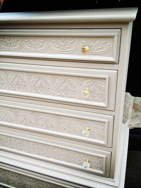 Paintable Textured Wallpaper Dresser Make Over