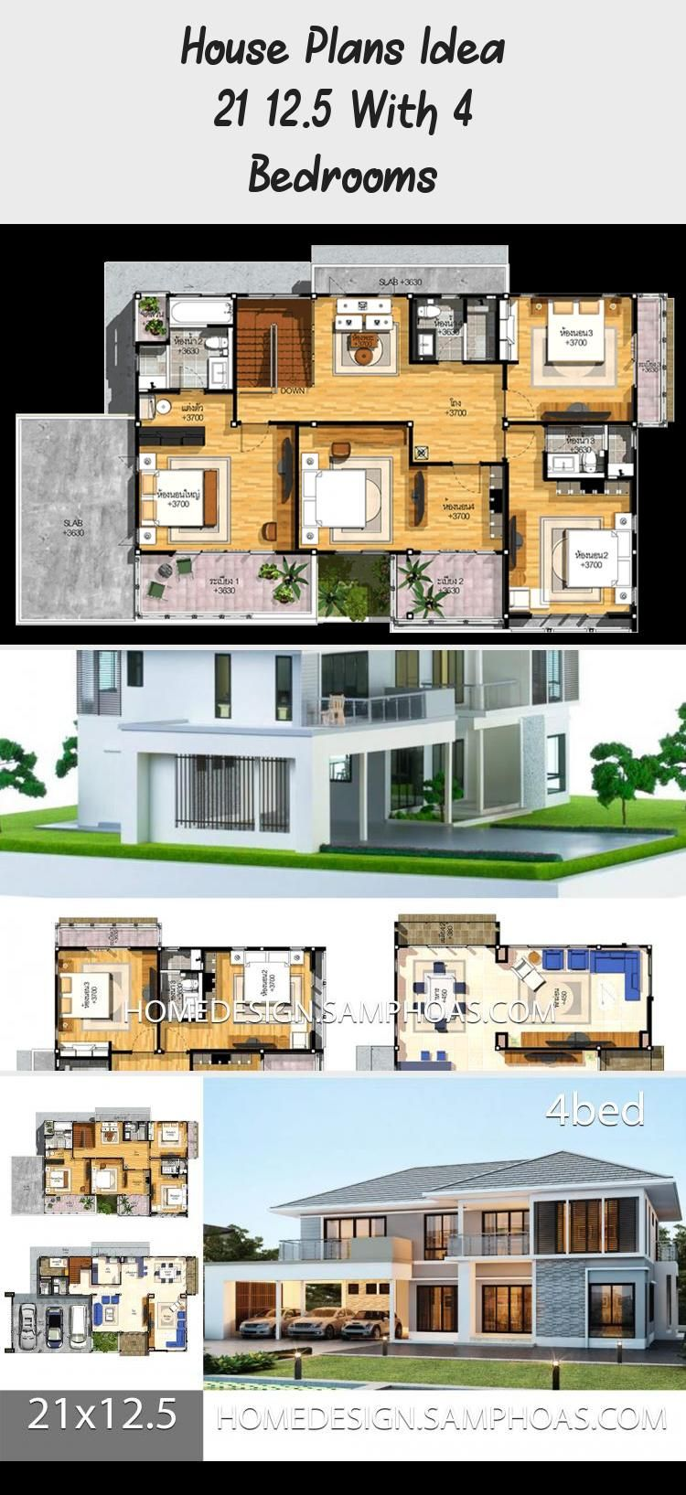 House Plans Idea 21x12 5 With 4 Bedrooms Home Ideassearch Countryfloorplans Housefloorplans Duplexfloor In 2020 House Plans Country Floor Plans Duplex Floor Plans