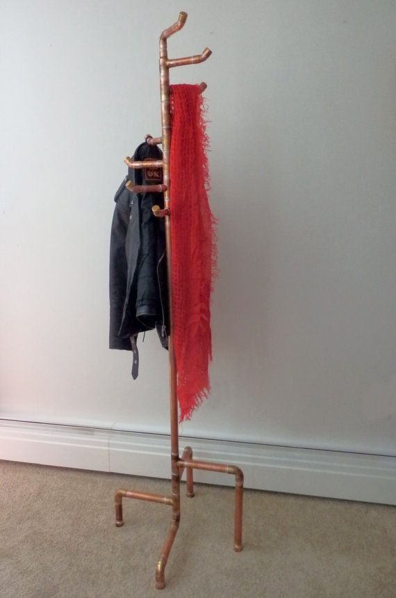 Free Standing Coat Rack Reclaimed Copper Pipe By