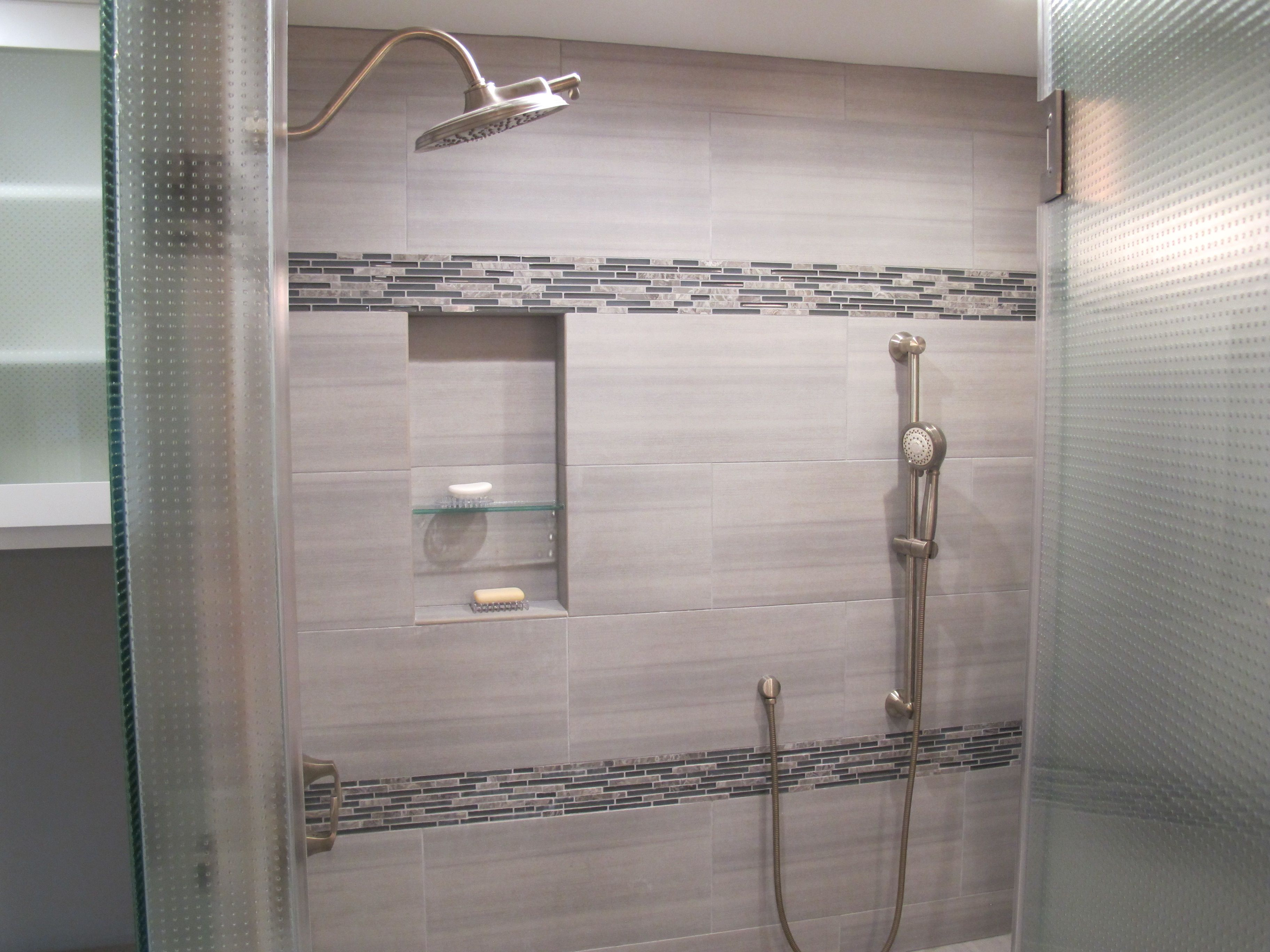 Perspective White Tiles On Shower Wall Decorative Lucente