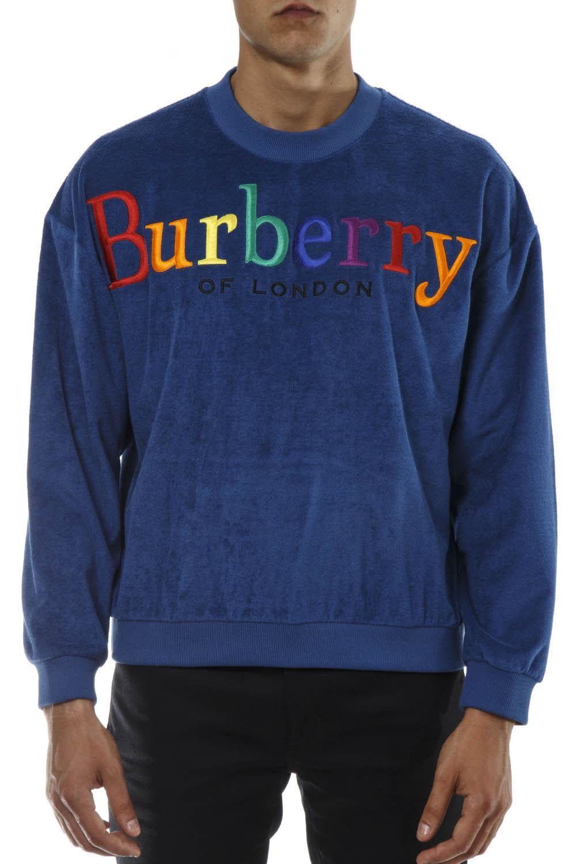 c1c35e95505c BURBERRY BLUE COTTON SSWETASHIRT WITH MULTICOLOR LOGO.  burberry  cloth