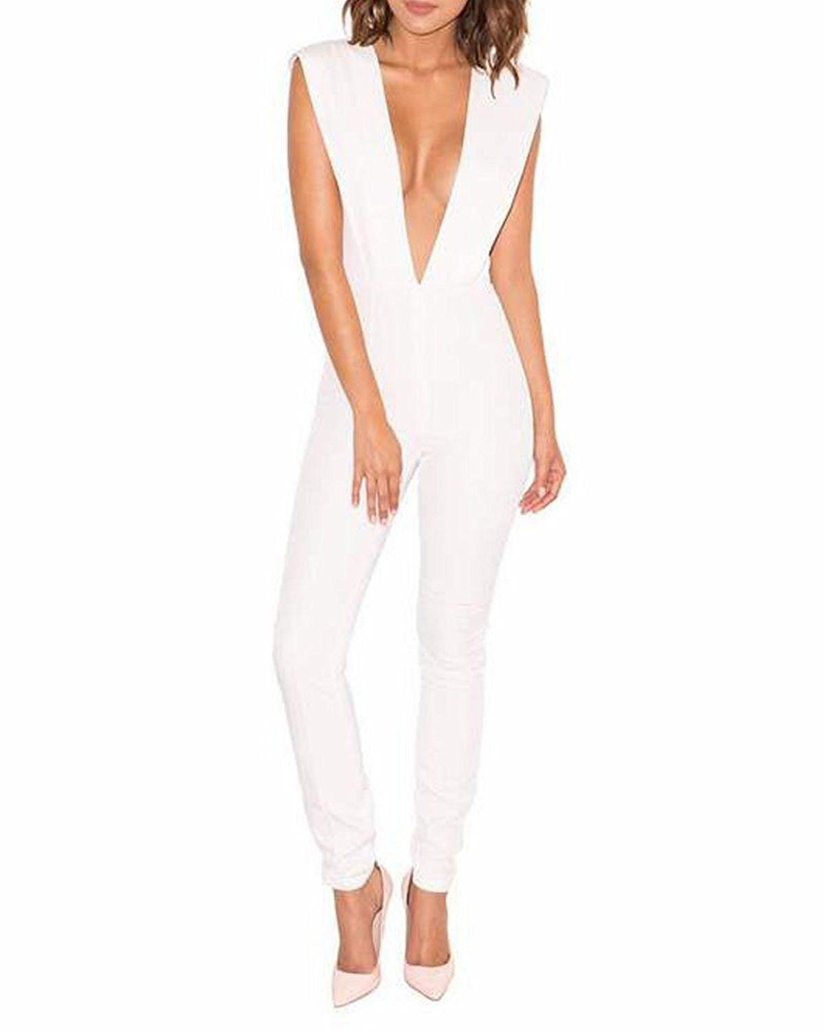 Whoinshop Women s Sexy Deep V Neck Jumpsuit Stretch Bodycon Party Romper  Pants     This is an Amazon Affiliate link. Click image for more details. 0fb60fd7f