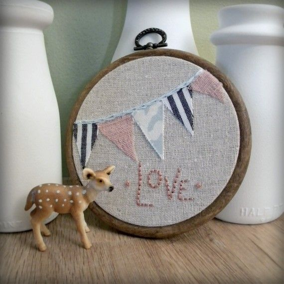a bit of love, embroidery with bunting wall decor