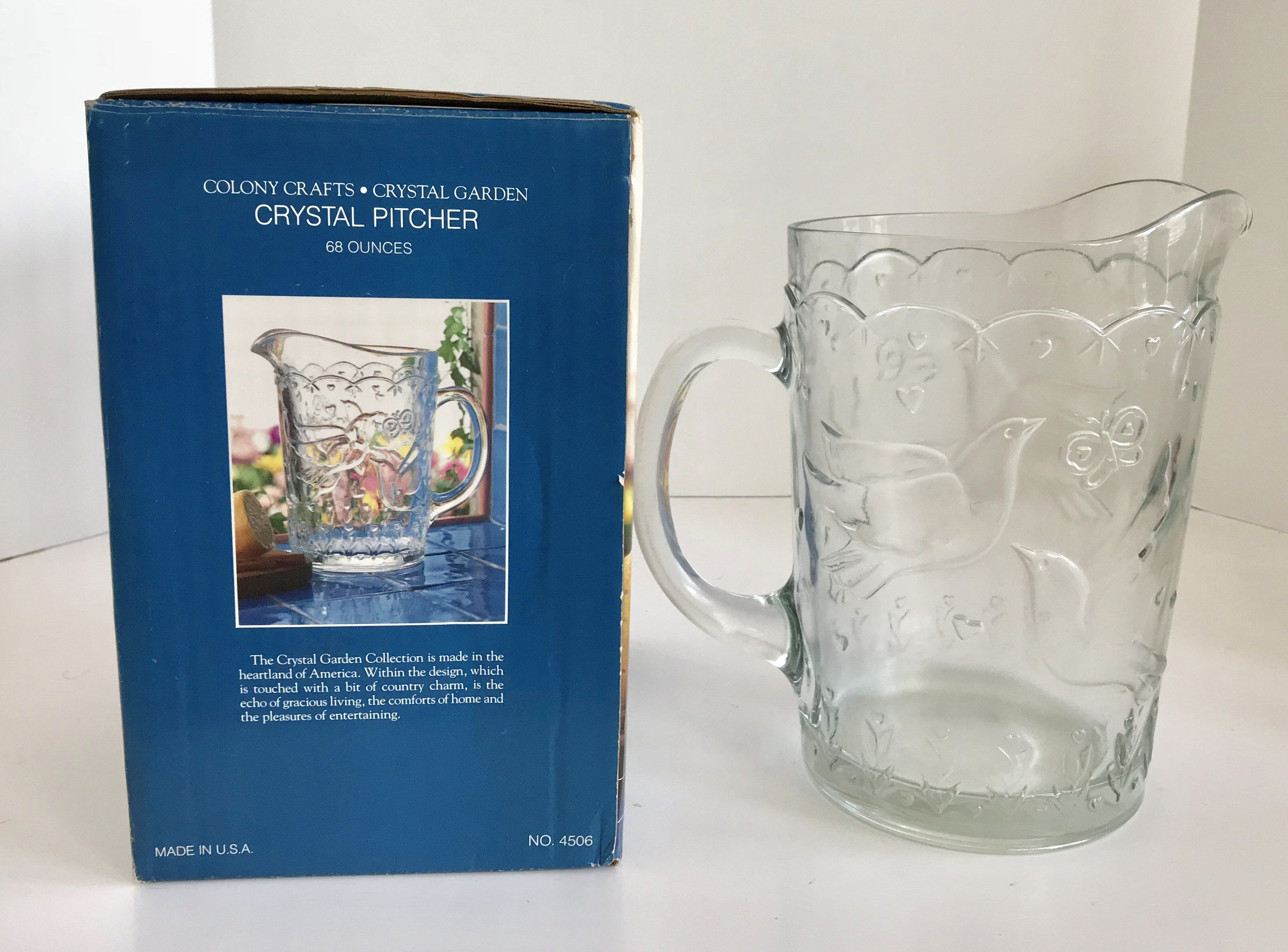 Colony Crafts 68 Ounce Crystal Garden Crystal Pitcher with Original