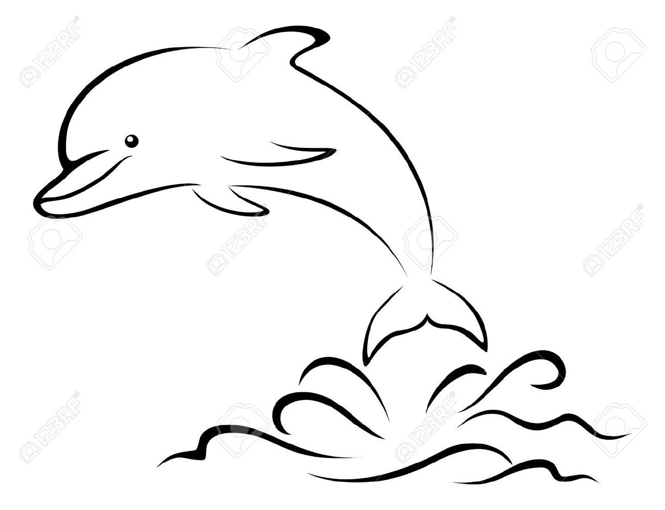 Cartoon Dolphin Jumping Over The Sea Waves Black Contours Pictogram Royalty Free Cliparts Vectors And Stock Illustrati Cartoon Dolphin Sea Waves Pictogram