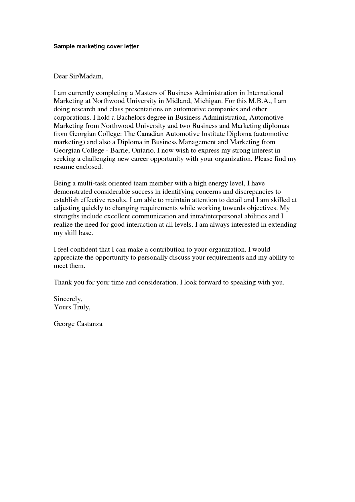 sample entry level marketing cover letter 7 free