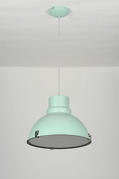 hanglamp modern retro industrie look groen aluminium rond