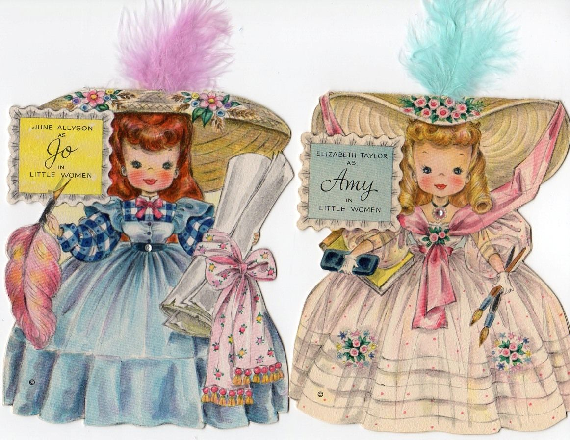 Madeline S Memories Vintage Christmas Cards: Hallmark Little Women Doll Cards - Jo And Amy