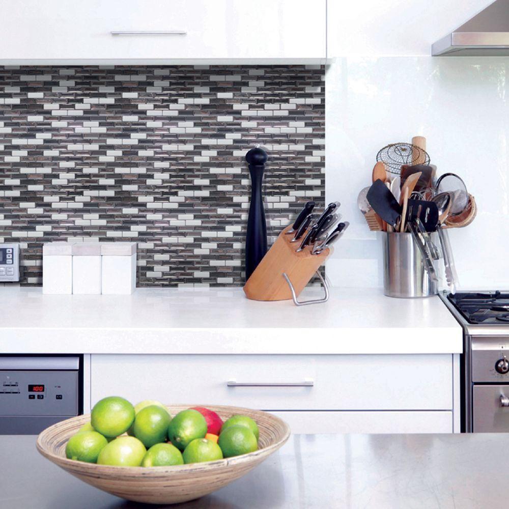 Smart Tiles Murano Metallik Grey 10 20 In W X 9 10 In H Peel And