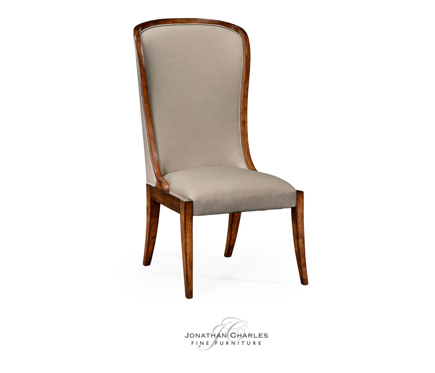 High curved back upholstered dining side chair #hpmkt #jcfurniture #jonathancharles #Furniture #InteriorDesign #Windsor