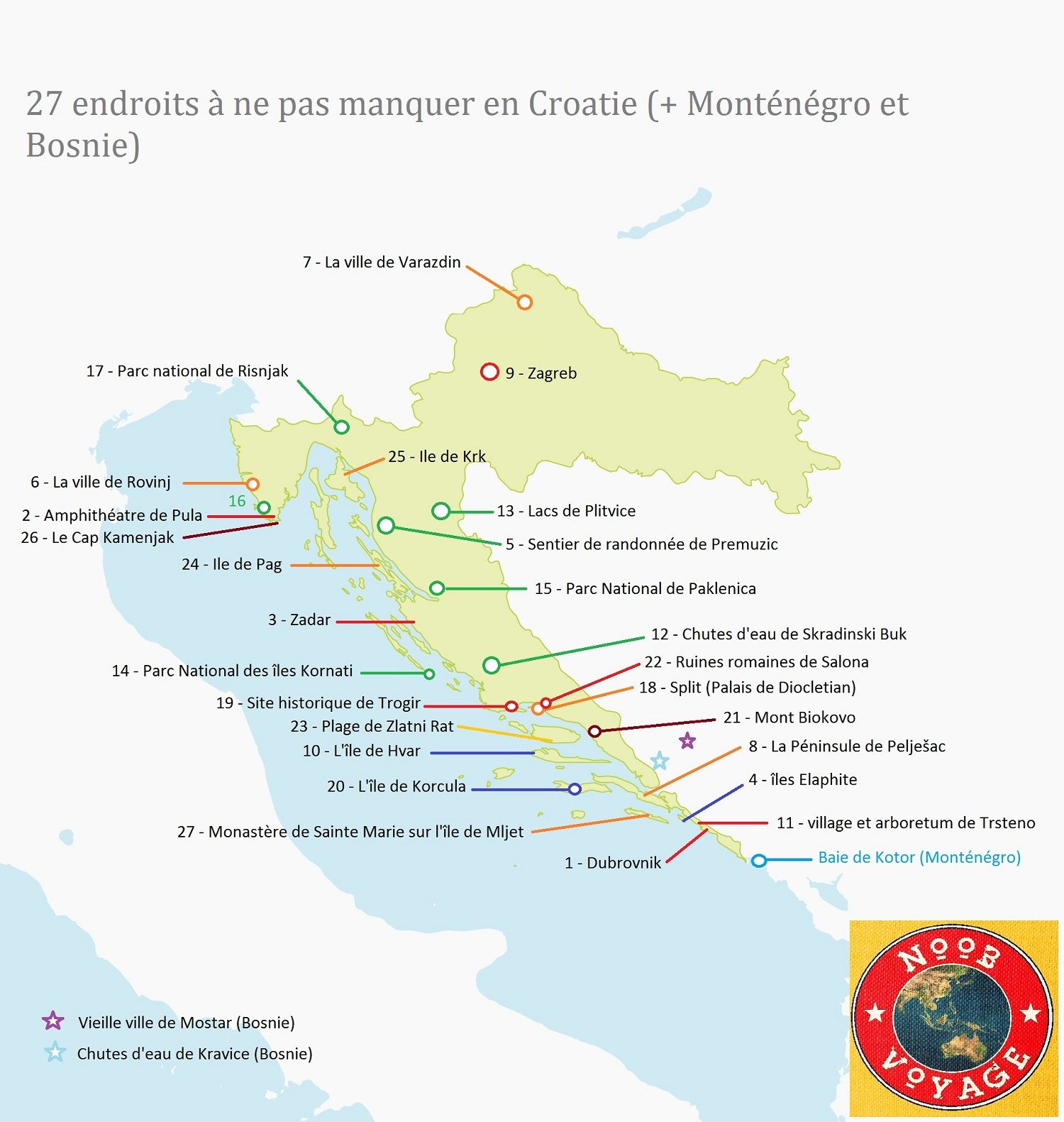 Carte De La Croatie Touristique.Carte De La Croatie Detaillee Touristique Les Endroits A Ne