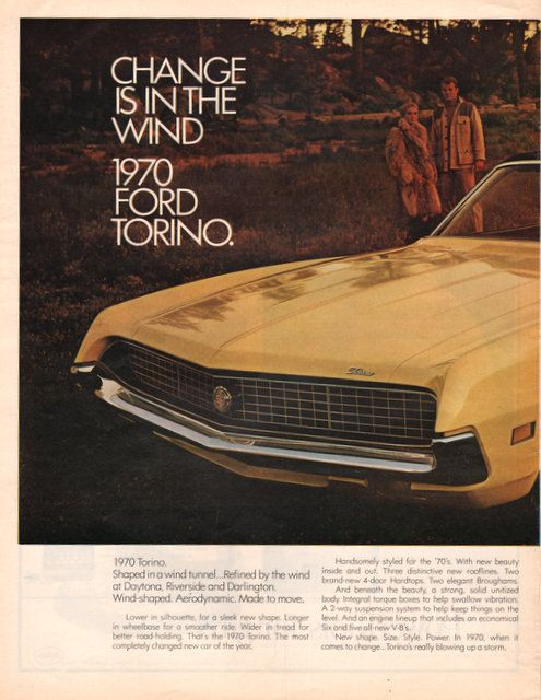 1970 ford torino car print ad yellow two pages garage for Garage ad le pin