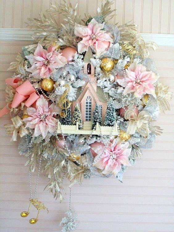 Christmas Wreath WREATHS Pinterest Wreaths, Pink christmas and