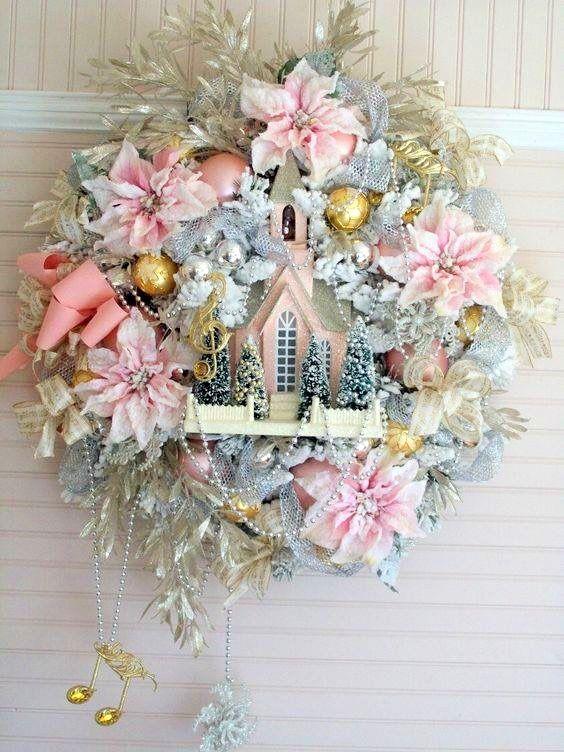 Christmas Wreath WREATHS Pinterest Wreaths, Pink christmas and