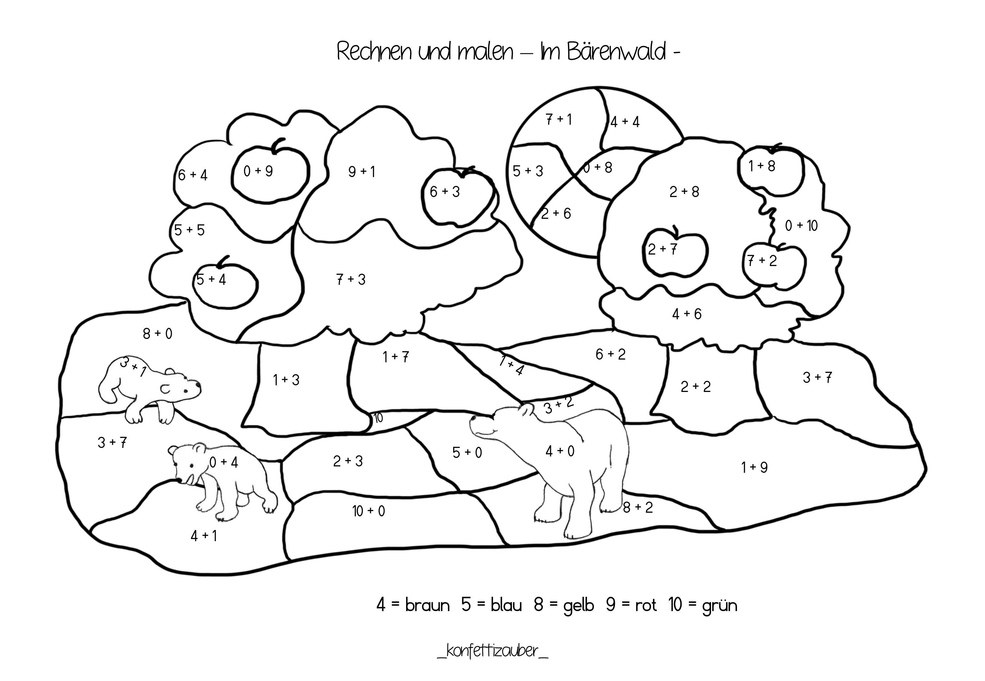 Rechnen Und Malen Addition Bis 10 Im Barenwald Unterrichtsmaterial In Den Fachern Kunst Mathematik Rechnen Informatik Kunst Grundschule