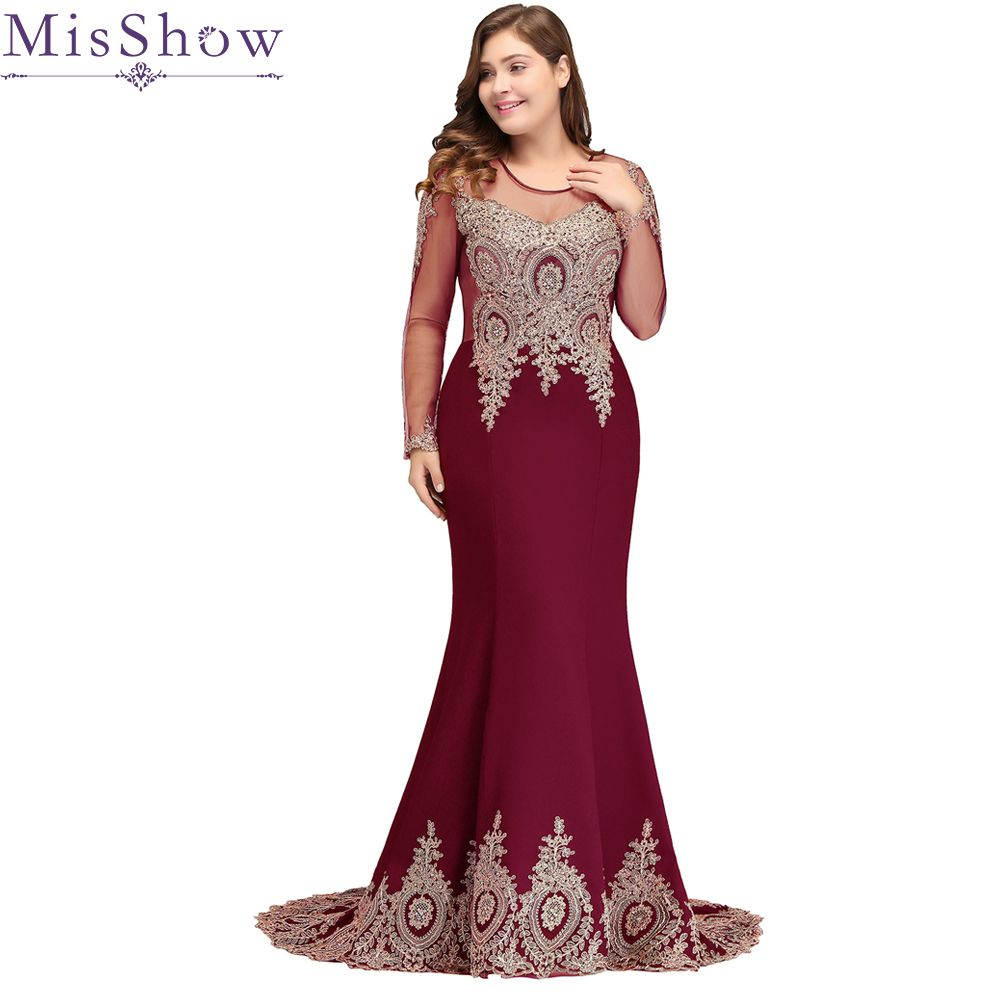 445ac59cc83 2019 Long Sleeves Applique Plus Size Evening Dress Mermaid Beads Arabic  Muslim Women Formal Prom Evening