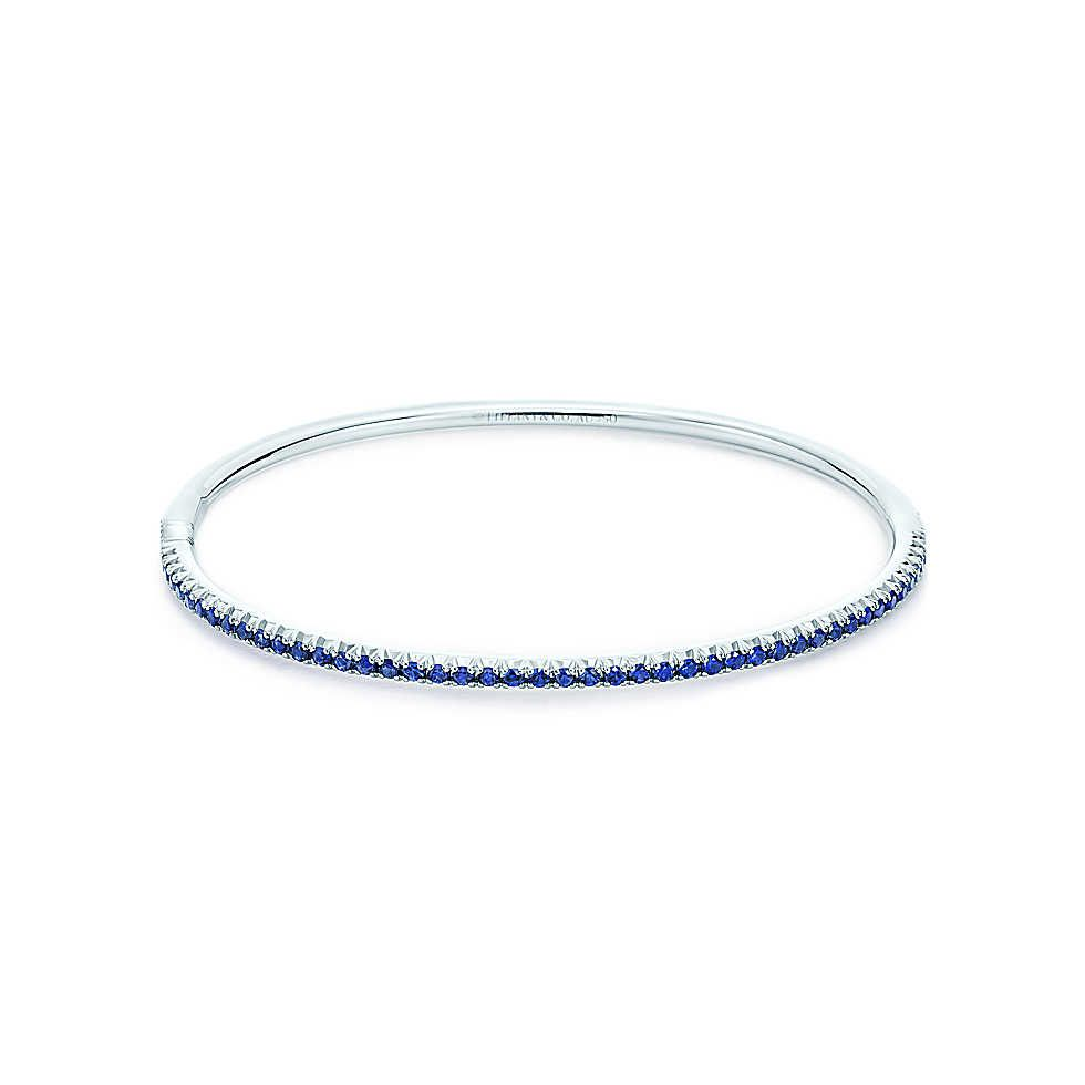 2242f47da Tiffany & Co. - Tiffany Metro hinged bangle in 18k white gold with  sapphires, small.