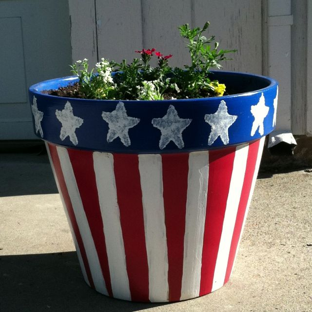 American Flag Pot Terra Cotta Pot Crafts Clay Pot Crafts Painted Flower Pots