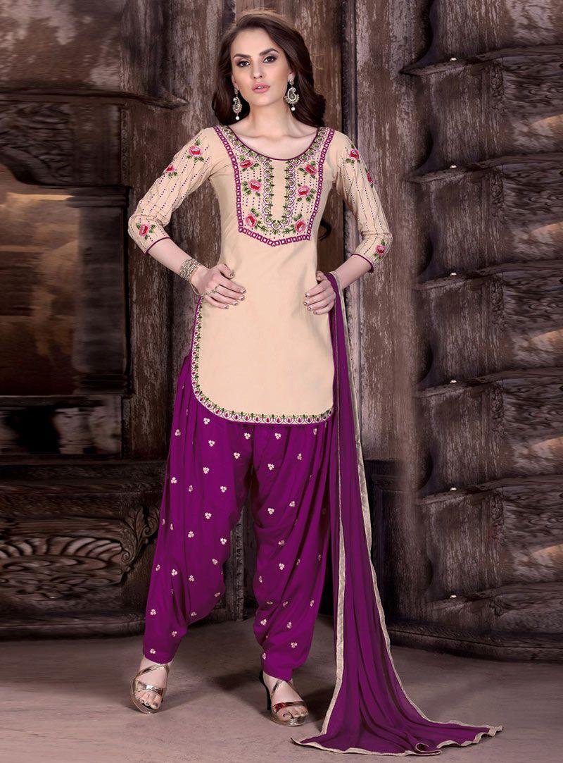 Beige Cotton Patiala Suit 85599