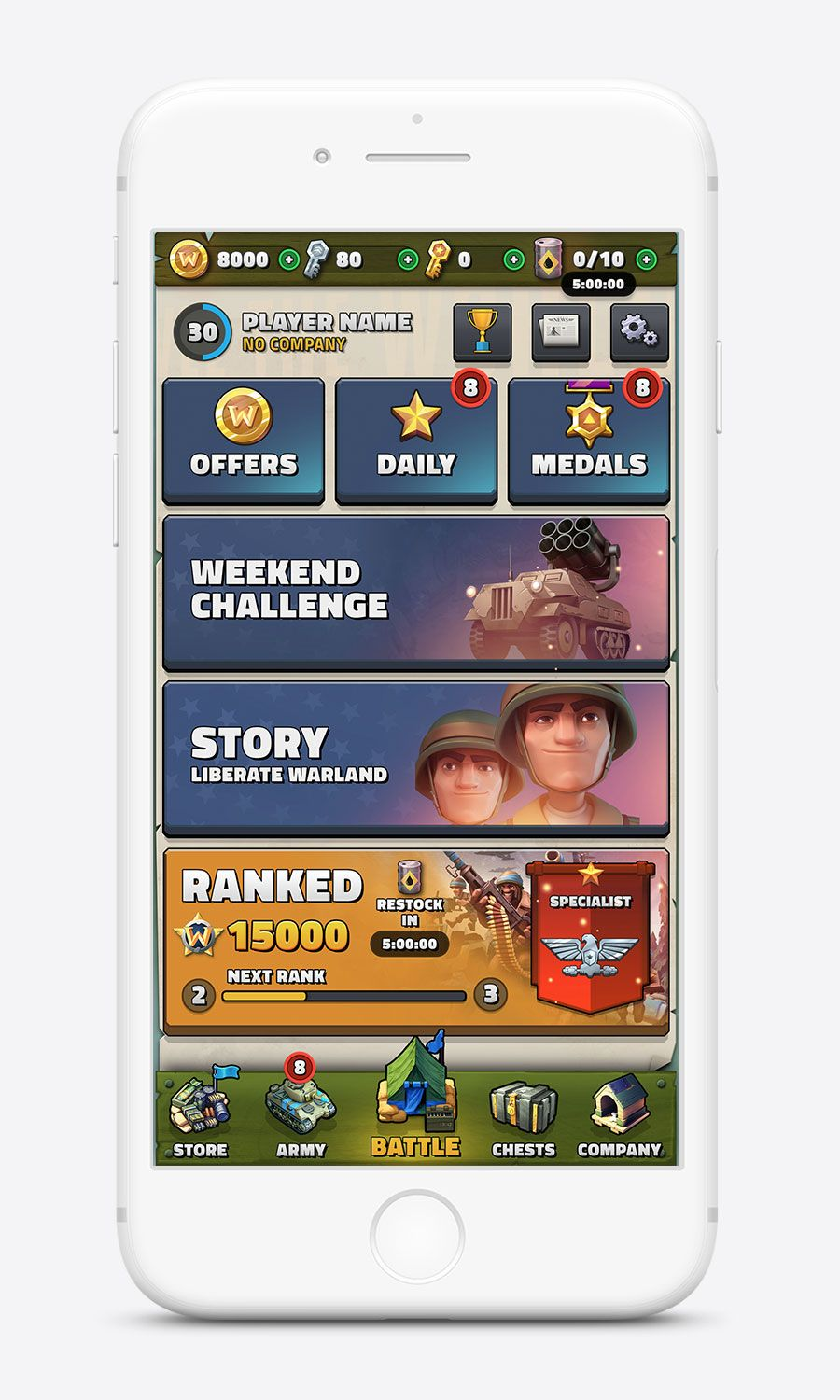 Medals of War – UI/UX for Games #gameinterface